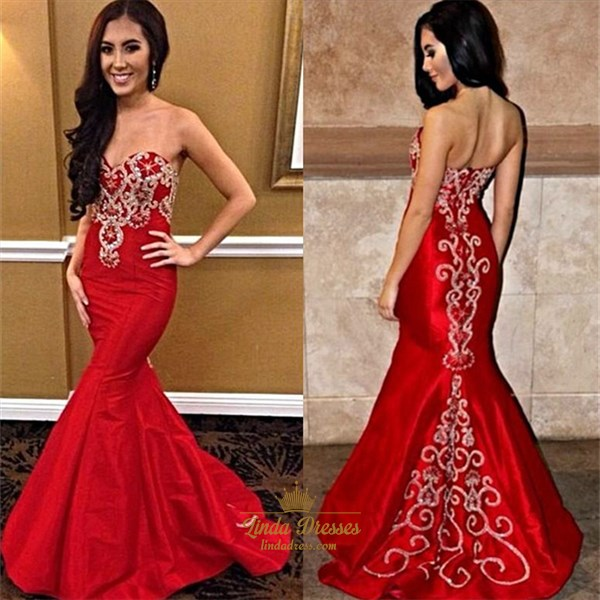 Floor Length Red Strapless Mermaid Evening Dress With Embellishments