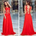 Red Sleeveless Illusion Lace Bodice Floor Length Chiffon Evening Dress