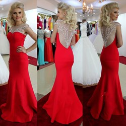 Red Illusion Beaded Bodice Floor Length Cap Sleeve Mermaid Prom Dress