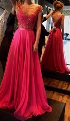 Elegant Fuchsia Color Floor Length A-Line Open Back Chiffon Prom Dress