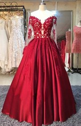 Burgundy Illusion Off The Shoulder Satin Ball Gown With Long Sleeve