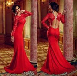 Red Long Sleeve Mermaid Chiffon Prom Dress With Embellished Open Back