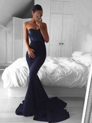 Simple Strapless Sweetheart Sequin Bodice Mermaid Long Evening Dress