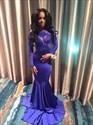 Royal Blue Long Sleeve Lace Embellished Open Back Mermaid Prom Dress