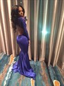 Show details for Royal Blue Long Sleeve Lace Embellished Open Back Mermaid Prom Dress