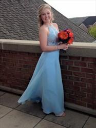 Light Blue Open Back Spaghetti Strap Chiffon Dress With Lace Bodice