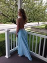 Show details for Light Blue Open Back Spaghetti Strap Chiffon Dress With Lace Bodice