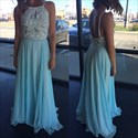 Light Blue Sleeveless Backless Chiffon Prom Dress With Beaded Bodice