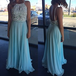 Light Blue Sleeveless Backless Chiffon Prom Dress With Beaded Bodice