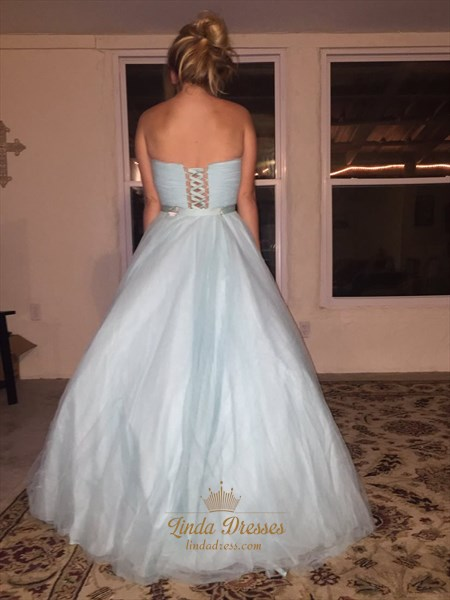 Strapless Sweetheart Floor Length Jewel Embellished Tulle Ball Gown