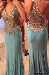 Floor Length Sleeveless V-Neck Chiffon Prom Dress With Beaded Bodice