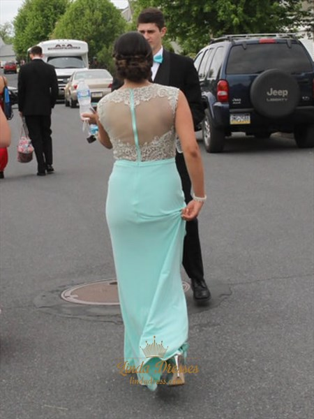 Light Blue Cap Sleeve Lace Embellished Prom Dress With Illusion Back