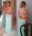 Light Blue Sleeveless Floor Length Beaded Bodice Chiffon Prom Dress