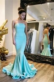 Simple Turquoise Floor Length Strapless Satin Mermaid Evening Dress