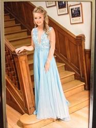 Light Blue Deep V-Neck A-Line Chiffon Long Prom Dress With Lace Bodice