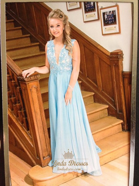 Light Blue Deep V-Neck A-Line Chiffon Long Prom Dress With Lace Bodice