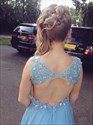 Show details for Light Blue Deep V-Neck A-Line Chiffon Long Prom Dress With Lace Bodice