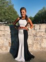 Elegant Black And White Two Piece Mermaid Prom Dress With Open Back