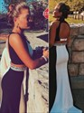 Show details for Elegant Black And White Two Piece Mermaid Prom Dress With Open Back