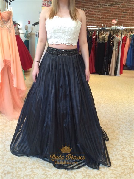 Strapless Black And White A-Line Two Piece Prom Dress With Lace Top