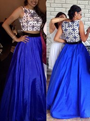 Floor Length Sleeveless A-Line Two Piece Prom Dress With Lace Bodice
