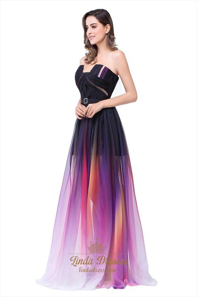 Colorful A-Line Strapless Floor Length Embellished Chiffon Prom Dress