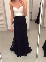 Elegant Floor Length Black And White Strapless Mermaid Lace Prom Dress