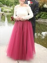 Two Tone A-Line Off-The-Shoulder Long Sleeve Lace Top Tulle Prom Dress