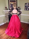Show details for Illusion Long Sleeve A-Line Floor Length Open Back Two Piece Ball Gown