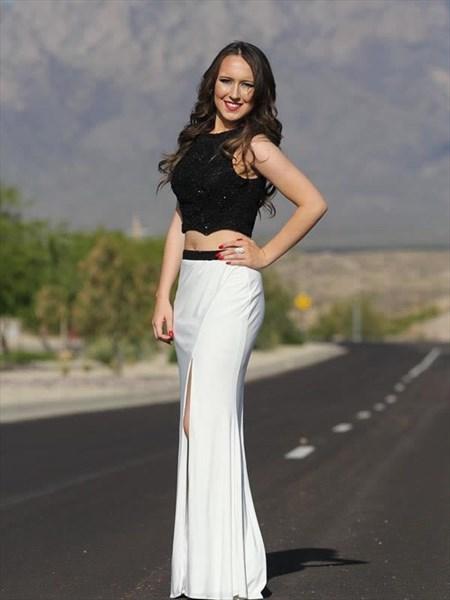 Elegant Black And White Sleeveless Floor Length Prom Dress With Slit