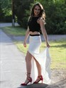 Show details for Elegant Black And White Sleeveless Floor Length Prom Dress With Slit