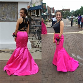 Simple Fuchsia And Black Floor Length Two Piece Mermaid Evening Dress