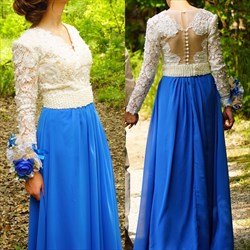 A-Line V-Neck Long Sleeve Chiffon Formal Dress With Lace Beaded Bodice