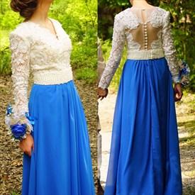 A-Line V-Neck Long Sleeve Chiffon Formal Dress With Lace Beaded Bodice