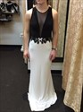 Show details for Two Tone Sleeveless V-Neck Mermaid Evening Dress With Lace Embellished