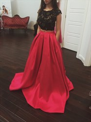 Elegant Two Piece Cap Sleeve A-Line Prom Dress With Lace Beaded Top