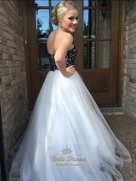 White Strapless Floor Length Ball Gown With Black Lace Embellished Top