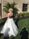 Show details for White Strapless Floor Length Ball Gown With Black Lace Embellished Top