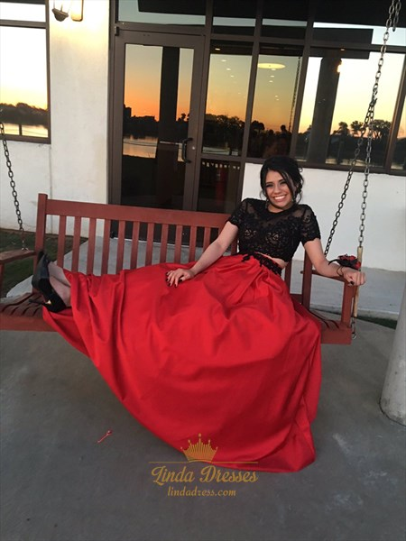 Short Sleeve Illusion Bodice Floor Length A-Line Two Piece Prom Dress