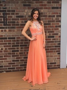 Light Orange Sleeveless A-Line Floor Length Beaded Chiffon Prom Dress