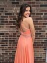 Show details for Light Orange Sleeveless A-Line Floor Length Beaded Chiffon Prom Dress