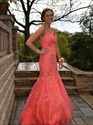 Show details for Coral Floor Length Strapless Sweetheart Lace Embellished Mermaid Gown