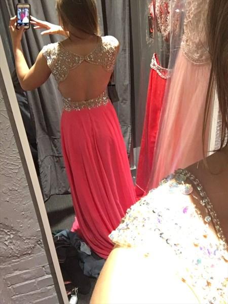 Open Back Floor Length Cap Sleeve V-Neck A-Line Chiffon Evening Dress