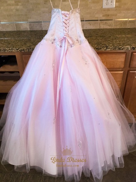 Beautiful Light Pink Strapless Sequin And Beads Embellished Ball Gown