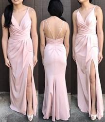 Light Pink Floor Length Sleeveless V-Neck Prom Dress With Side Slit