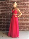 Show details for Hot Pink Sleeveless A-Line Two Piece Chiffon Evening Gown With Beading