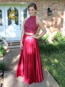 Elegant Fuchsia Sleeveless Two-Piece Beaded Bodice A-Line Prom Dress