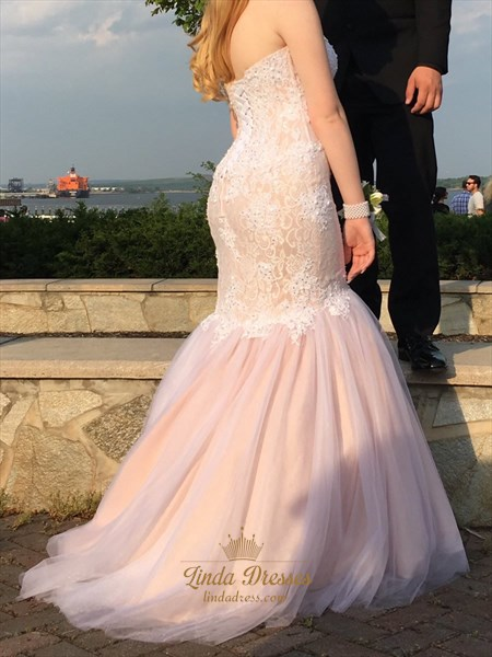 Blush Pink Strapless Drop Waist Mermaid Prom Dress With Lace Bodice