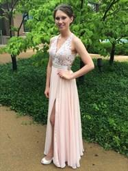 Light Pink Sleeveless V-Neck A-Line Open Back Lace Bodice Chiffon Gown