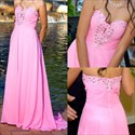 Show details for Hot Pink Strapless A-Line Chiffon Evening Dress With Beaded Neckline